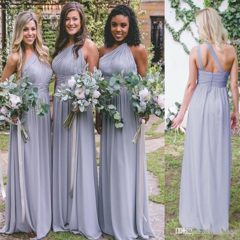 Sexy Cheap Country Dusty Blue Bridesmaid Dresses For Weddings One Shoulder Pleats Chiffon Long Elegant Maid of Honor Gowns Plus Size