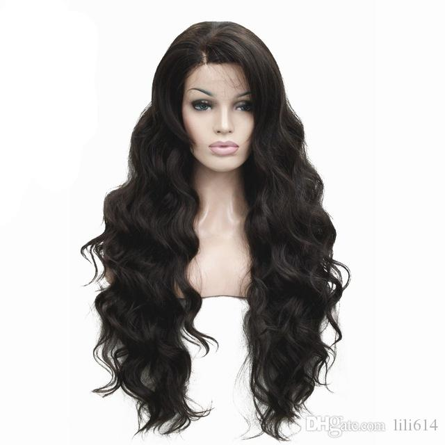 Women's Front Lace Wigs Very Long Wavy Black/Brown 30 inches Kanekalon Synthetic Wig 5 Color