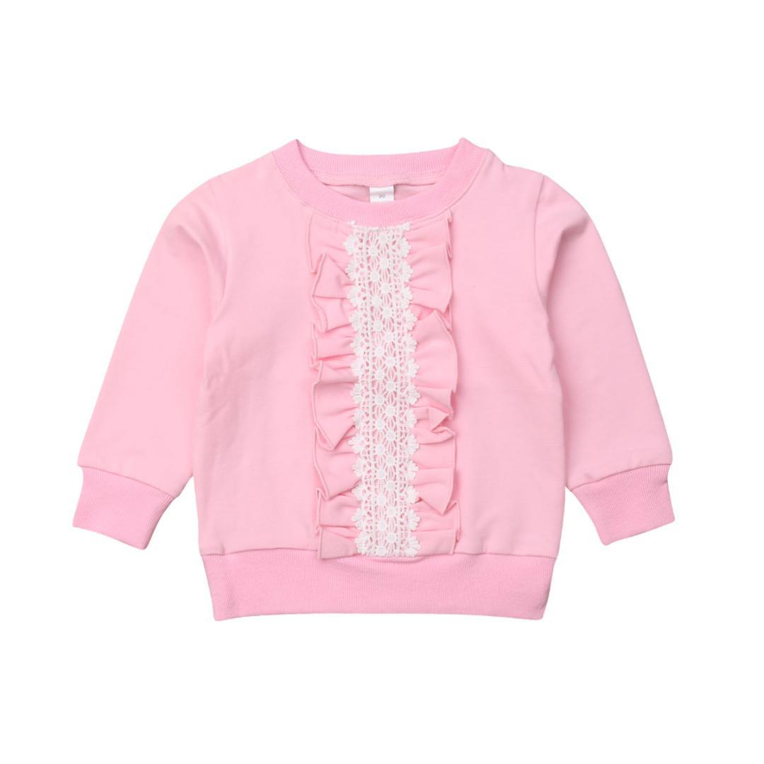 2-8Y Autunno Bambino sveglio neonate Felpa parti superiori delle increspature del merletto rosa Stampa manica lunga Pullover Tops Clothes