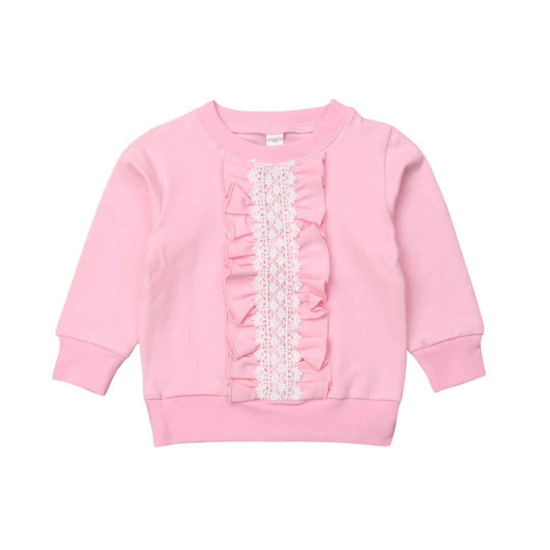 2-8Y Automne mignon enfant en bas âge Bébés filles Sweat-shirt Tops dentelle Volants Imprimer Rose manches longues Pull Hauts Vêtements