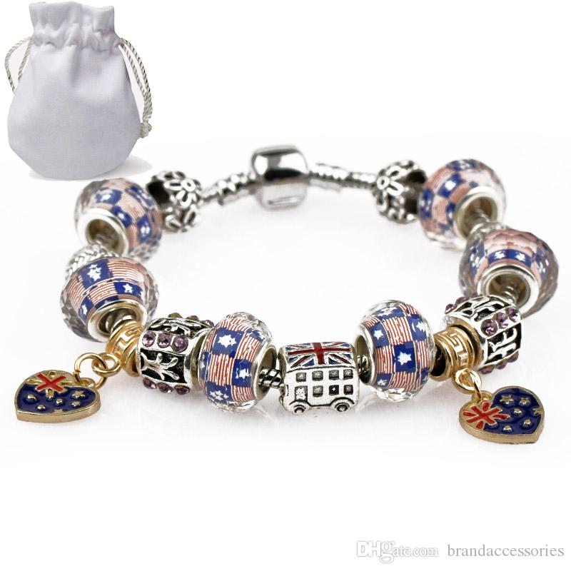 With Logo Luxury Charm Bracelets Women Silver Plated Fit Pandora Bangles UK US Flag Crystal Beads Heart Gold Pendant Alloy Jewelry P28