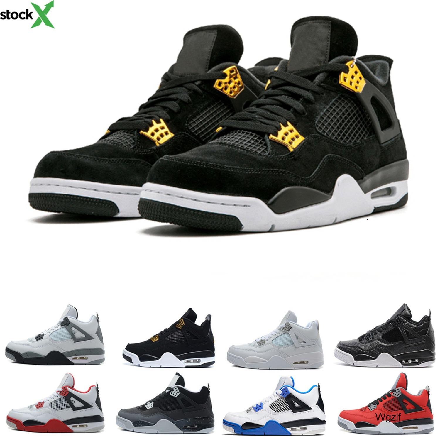Drop shipping 4 Cactus Jack Jordon Basketball Shoes for men Pure Money Royalty White Cement Raptors Bred Military Blue mens Sport Sneakers
