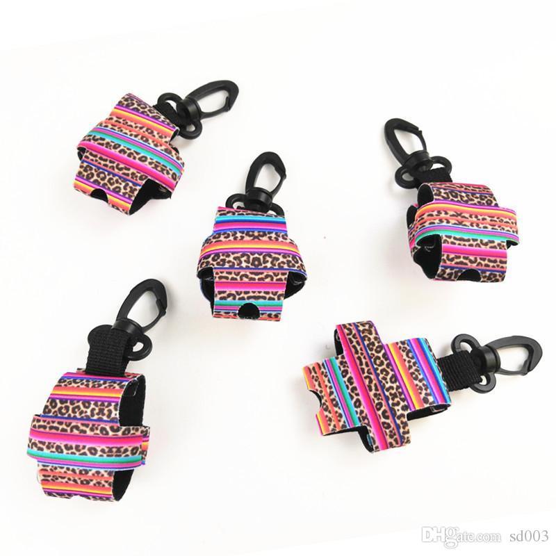 Couverture en néoprène de parfum de manchon de bouteille de désinfectant pour les mains avec porte-clés avec pince