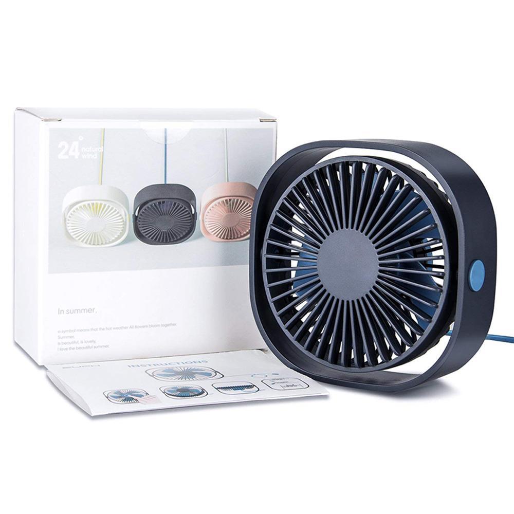 Ventilateur de refroidissement portable Personal de bureau 3 vitesses de bureau USB avec angle de rotation 360 à angle réglable pour le bureau de bureau