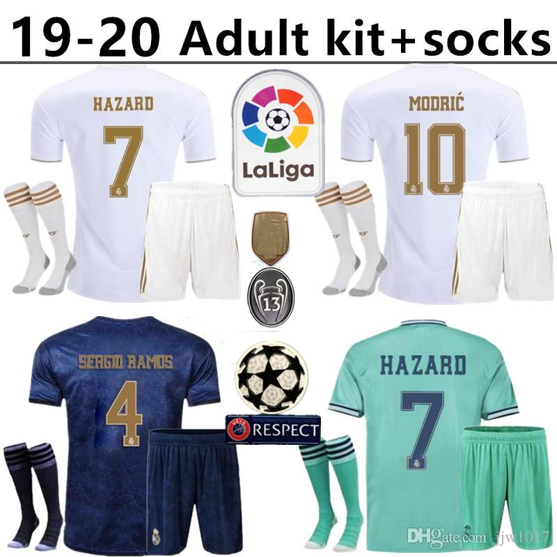 Real Madrid kit per adulti + calzini Hazard soccer jersey 2019 2020 real madrid jerseys BENZEMA SERGIO RAMOS KROOS 19 20 pullover di calcio maillot