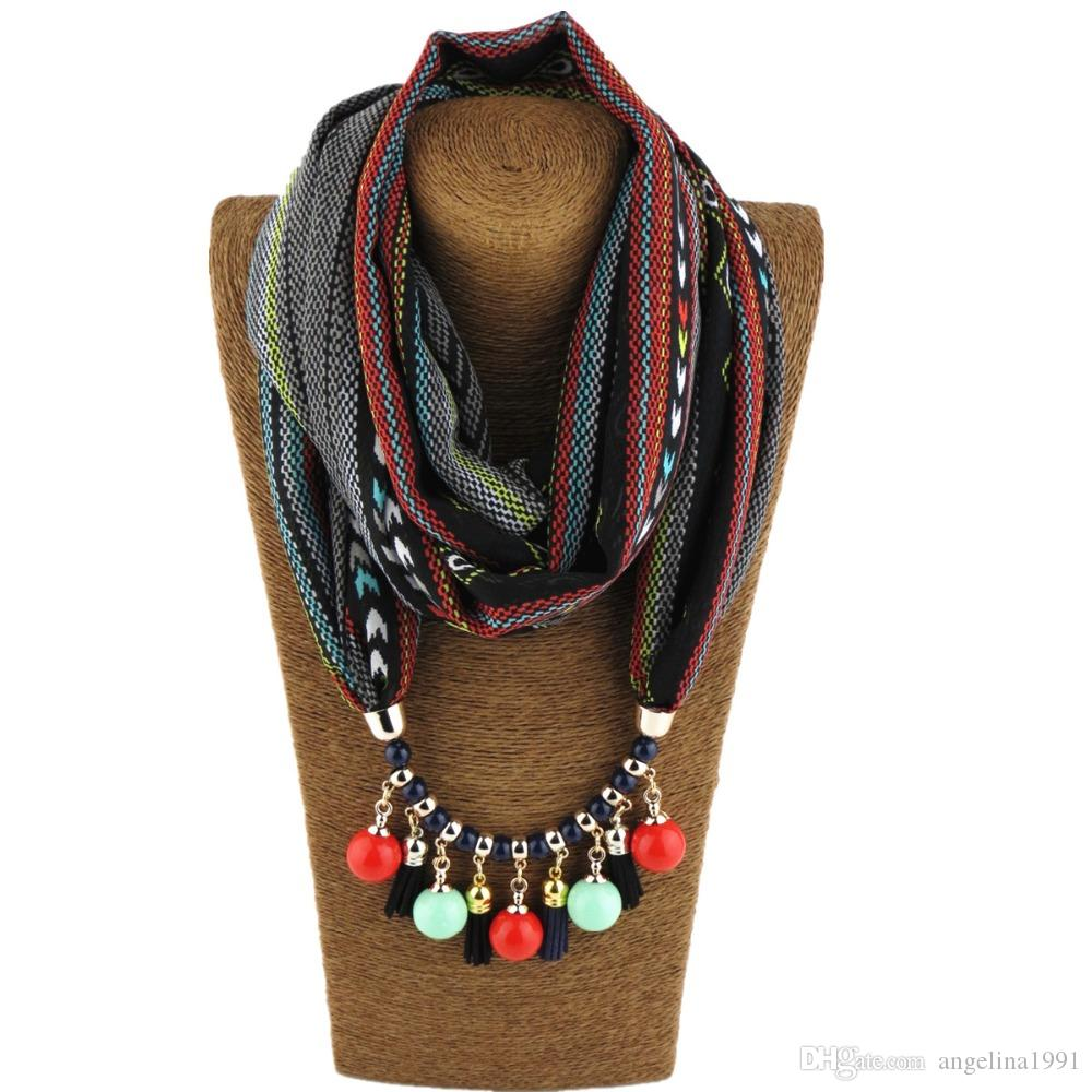 Fashion Style Women Ponchos and Capes Water Drop Pendant Necklace Scarf Collar Shawl Scarf Jewelry Casual Office