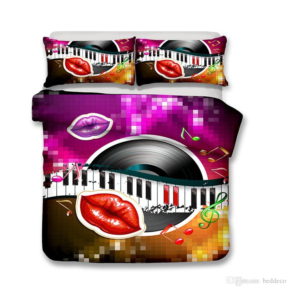 الموسيقي ملاحظات مجموعة مفروشات الملكة الحجم المألوف القرص الشفاه الإبداعية غطاء لحاف الملك التوأم كاملة واحدة مزدوجة غطاء السرير مع مل 3pcs المخدة