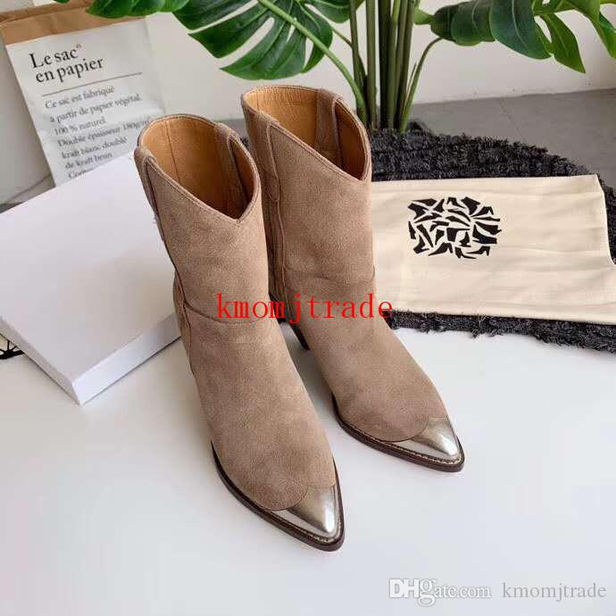 Orijinal Kutusu Isabel Paris Pist Marant Lamsy Deri Bilek Boots Kadın Tasarımcı Ayakkabı İtalya Buzağı Deri Metal Burun Çizme