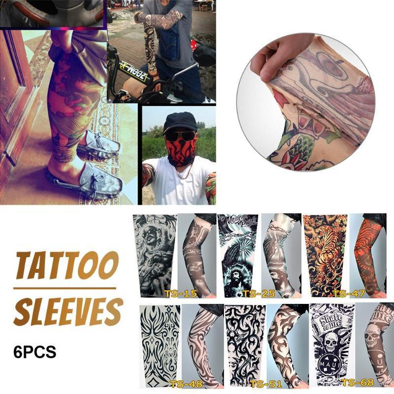 6PCS Anti-Sunshine Mode Hommes et femmes de bras de tatouage jambe manches haut élastique en nylon Riding manches glace Parties couverture UV solaires pour