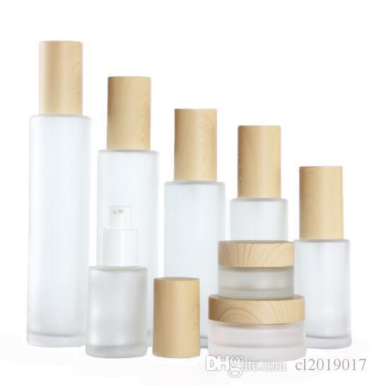 20ml 30ml 40ml 50ml 60ml 80ml 80ml 100ml Frost Glat Glass Cream Jar con coperchi in legno Cappuccio Glassato Glassato Lozione Lozione Bottiglia Spray Bottiglia Cosmetici Contenitore del contenitore