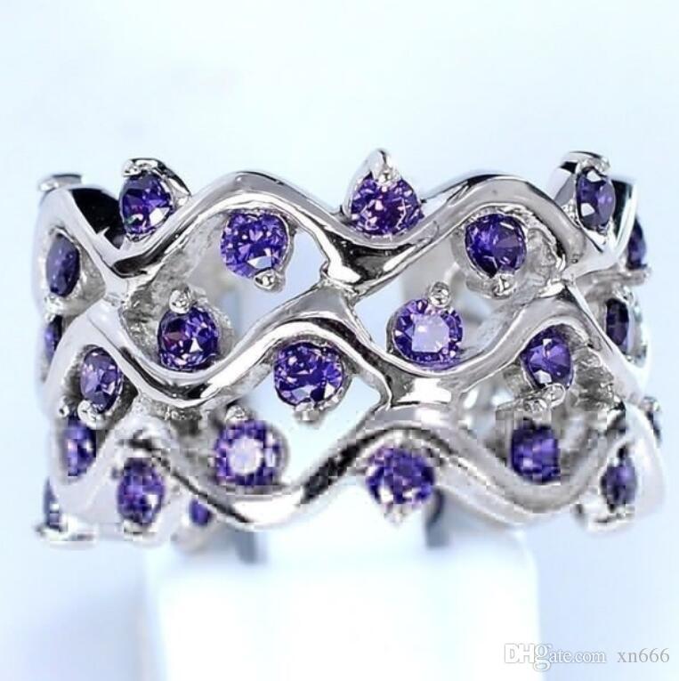 Amethyst Zirkon Ring weiblichen Tansanit vollen Diamantring