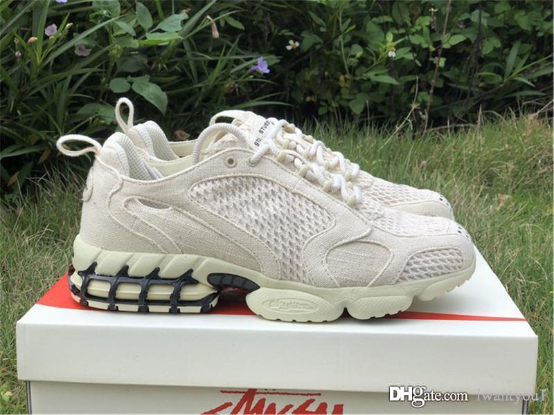 Authentic 2020 Stussy x Air Zoom Spiridon Cage 2 laufende Schuhe Männer Frauen Schwarz Fossil Schwarz Pure Platinum Fashion Sneakers mit Kasten 12.05