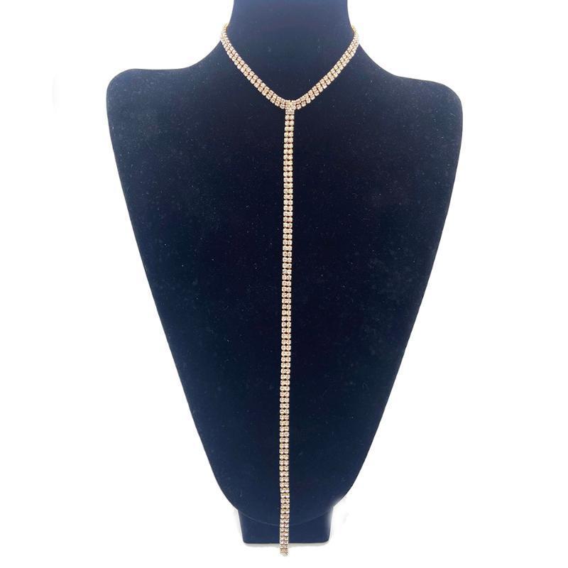 Новый европейский стильный воротник заявление Ожерелье для женщин девушки длинные горный хрусталь цепи кулон ожерелья свадебные аксессуары Подарок