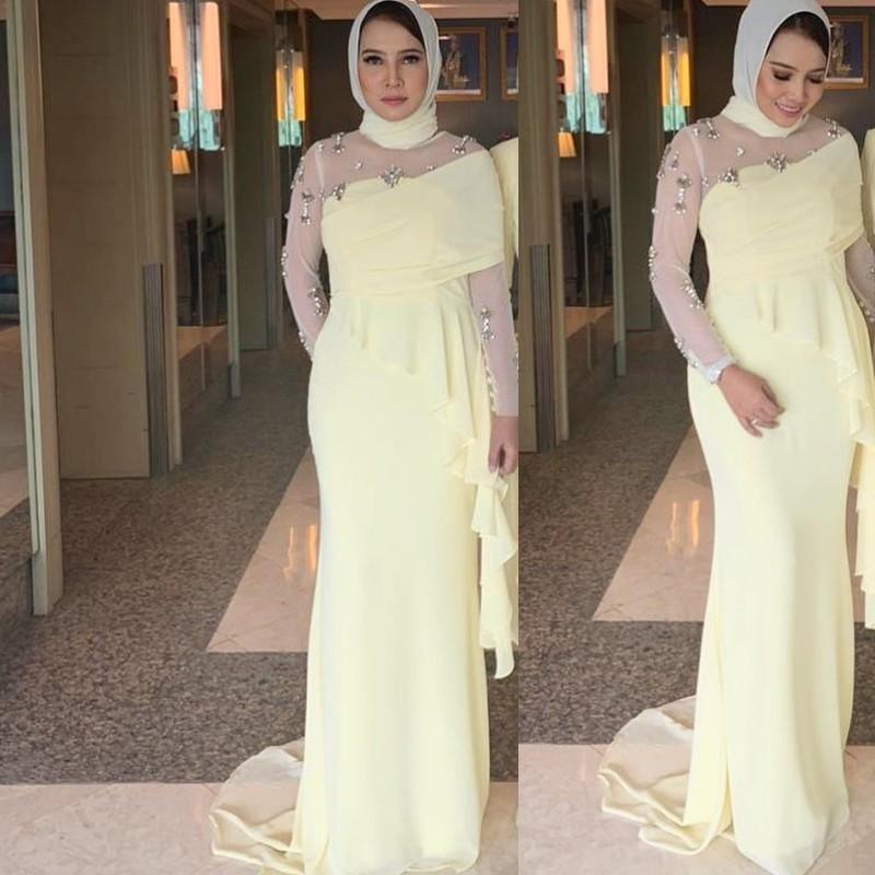 Amarillo Vestidos musulmanes vestidos de noche vestidos de baile de Dubai 2020 del vestido largo de gala formal