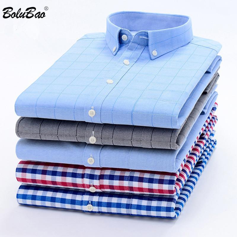 BOLUBAO Marka Erkek İş Ekose Gömlek Çok Stil Düğme Dekorasyon Gömlek Modelleri Akşam Hüsniye Moda Gömlek Erkek Y200407