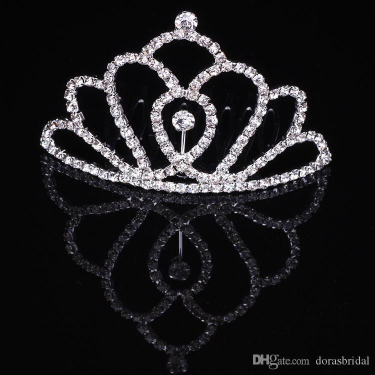 Kızlar Tiaras Ile Rhinestones Kristaller Saç Aksesuarları Akşam Balo Parti Performansı Pageant Tiaras Taçlar Küçük Kızlar Için DB-T061
