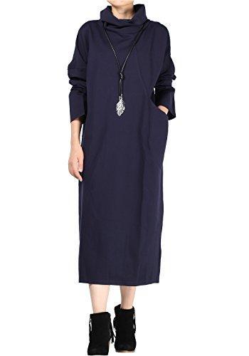 Mordenmiss Women's Turtleneck Long Basic Dress Big Pocket