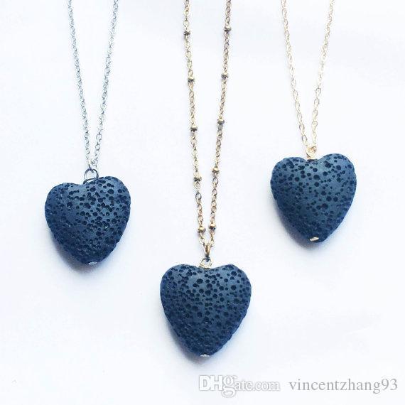Coeur de lave-rock Perle long volcan Collier Aromathérapie Huile Essentielle Diffuseur Colliers Noir Lava Pendentif Bijoux