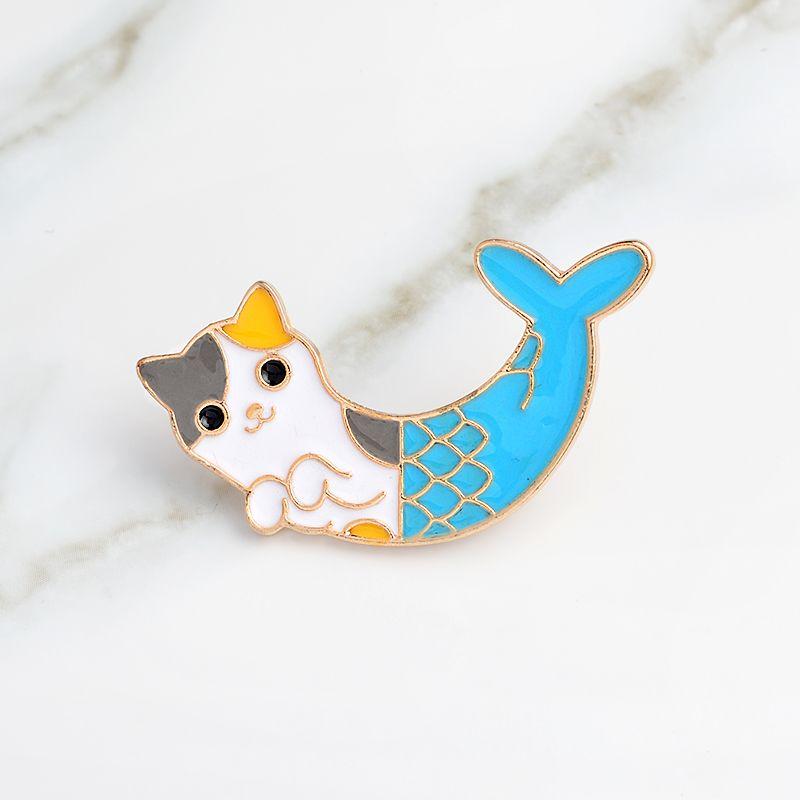 Blue Fish Cat Fishtail Creative Animal Broche chanceux Sirène Badge émail Denim cuir Pin enfant ami Cartoon cadeau Mode