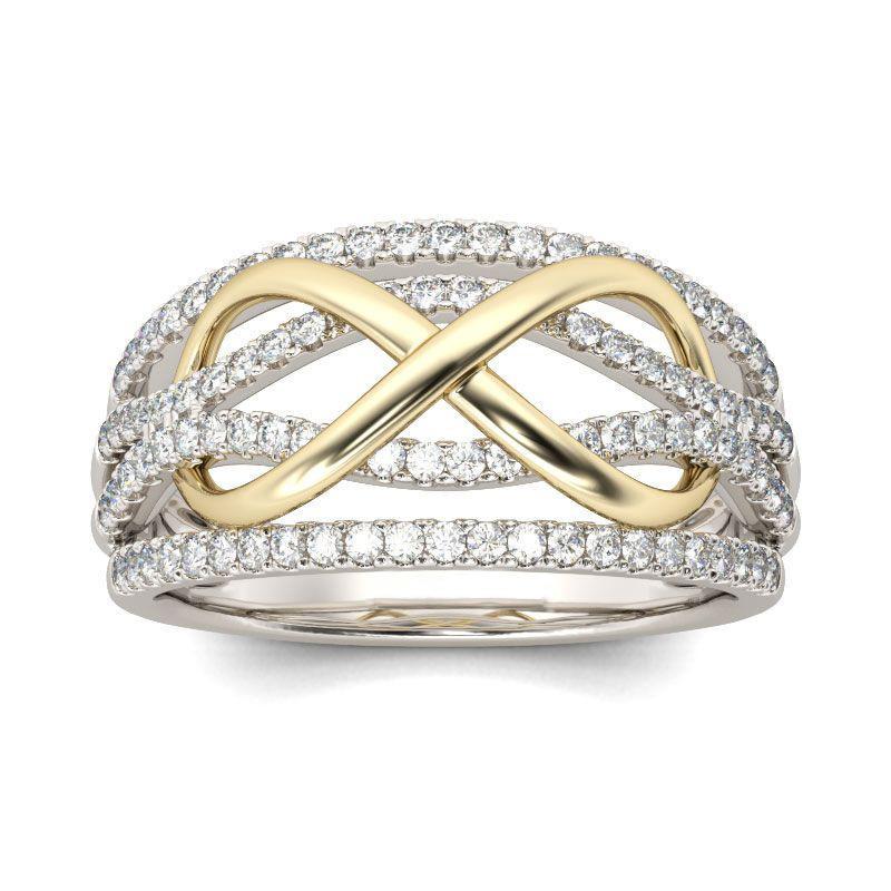 Novo Design Forever Love Wedding Rings Mulheres Silver cor de cobre with3A Pedras de cristal Infinito charme infinito Dedo Jóias