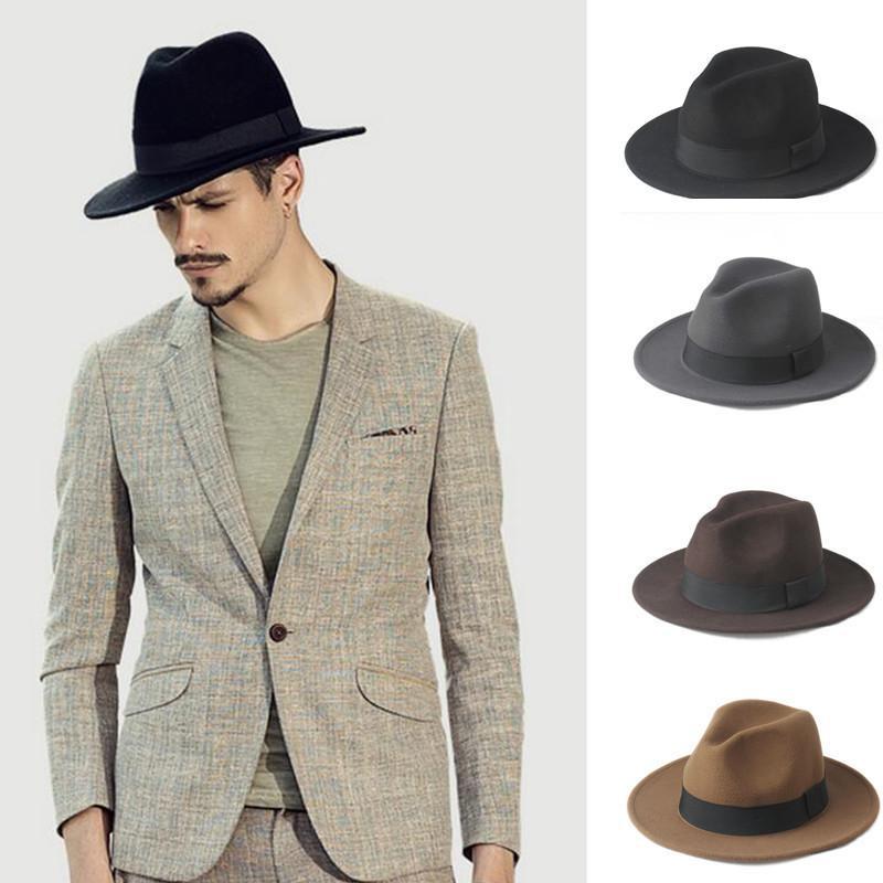 2 Große Größe 100% Wolle Männer Filz Trilby Fedora Hut Für Gentleman Wide Brim Top Cloche Panama Sombrero Cap Größe 56-58, Größe 59-61 cm Y19070503