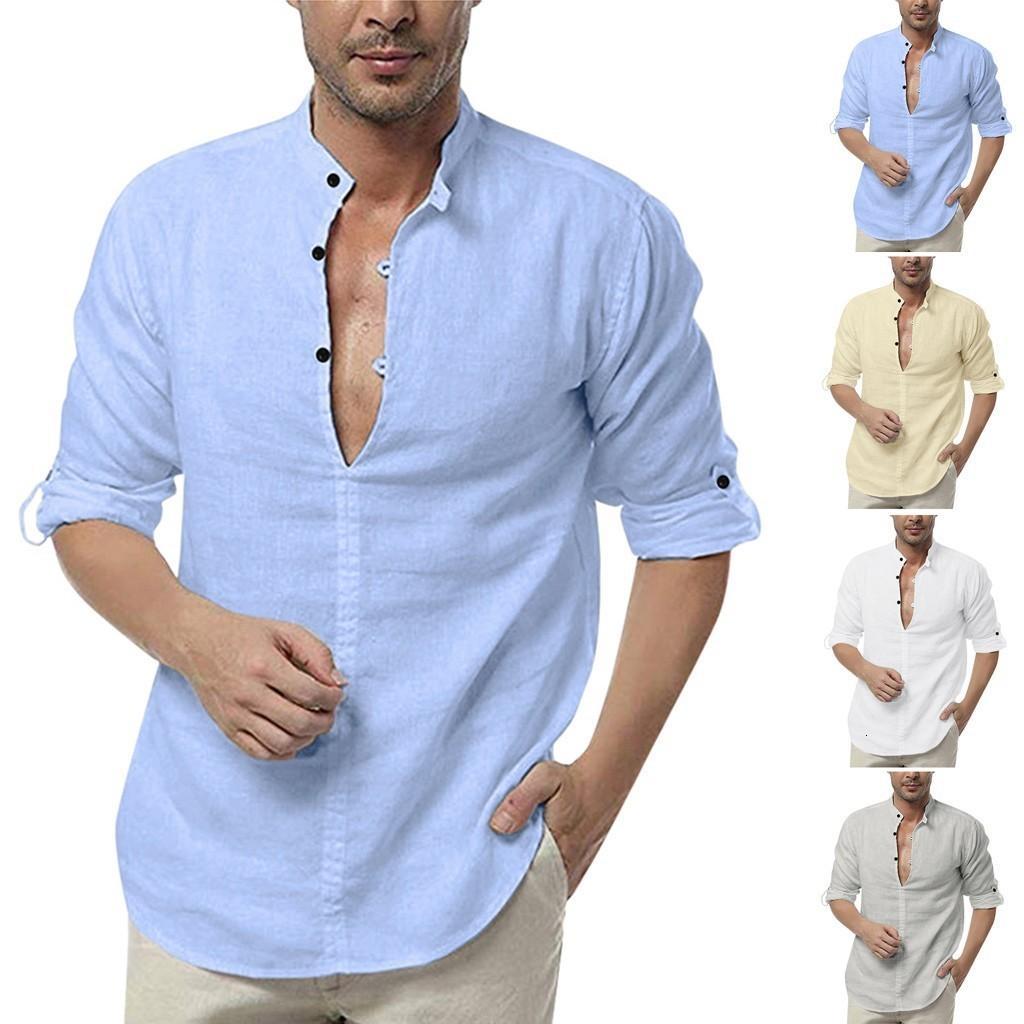 İlkbahar ve Sonbahar 2019 Erkek gömlek camisas Erkekler Gevşek Pamuk Katı R.Düğmeli Uzun Kollu Gömlek Blend Bluz Tops hombre
