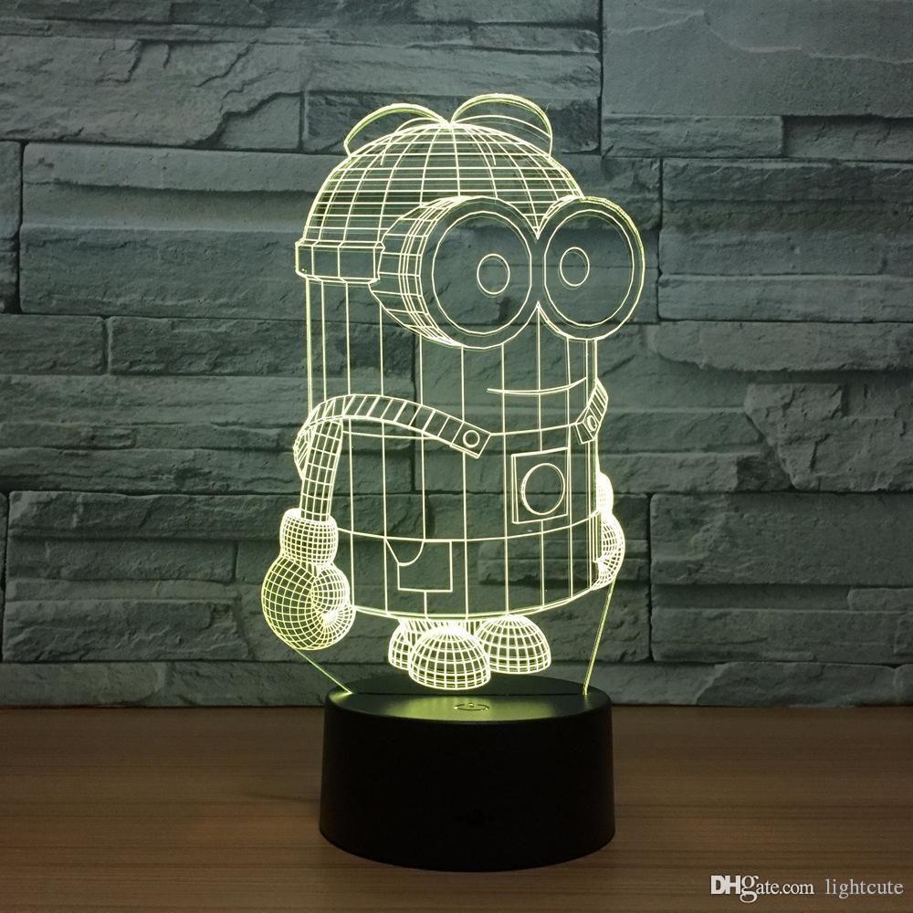 7 Colors Little Yellow 3D Led Night Lights USB Table Lamp Soccer Lampara Home Decor Bedroom Minions Sleep Night light