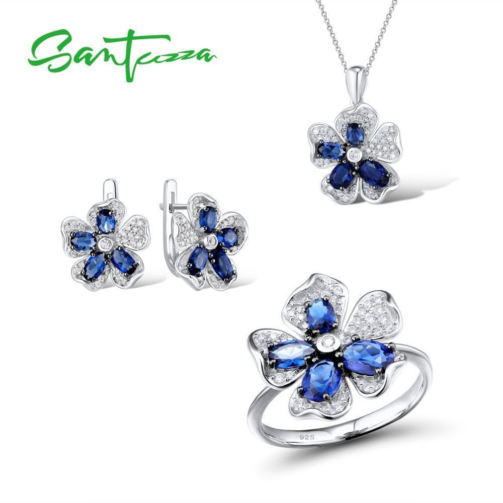 Santuzza الفضة زهرة مجموعة مجوهرات الزفاف الأزرق تشيكوسلوفاكيا الأحجار الدائري أقراط قلادة مجموعة 925 فضة الأزياء والمجوهرات C18122701