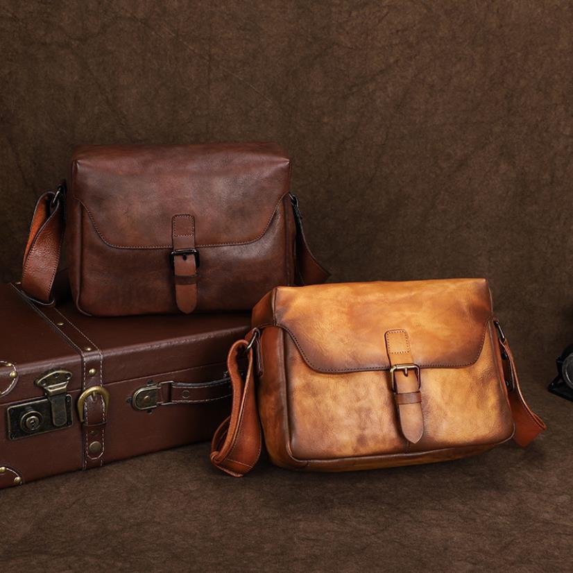 حقيبة جلدية الكاميرا الخضار المدبوغة الطبقة الأولى جلد البقر الرجال رسول حقيبة الرجعية فرك اللون الكتف حقيبة التصوير
