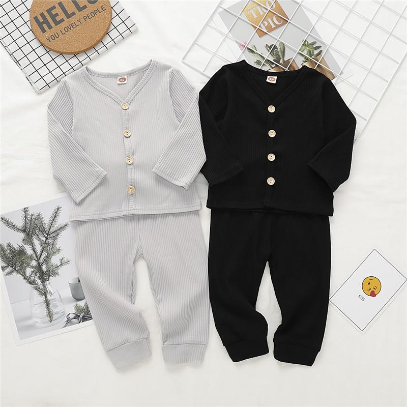 Mikrdoo Newborn Toddler Baby Boy Cotton Solid Color Cothes Set Long Sleeve T-shirt Top + Pant 2PCS Autumn Style Outfit