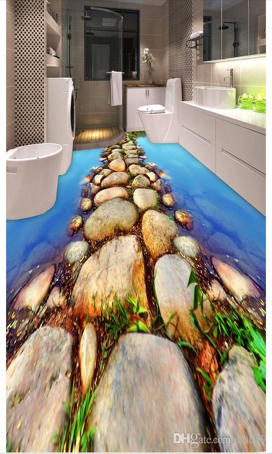 Großhandel 3D PVC Bodenbelag Wasserdicht Selbstklebende 3D Wandmalereien  Tapeten Weimei Flusswasser Schieferpfad WC Badezimmer 3D Boden Aufkleber  Von ...