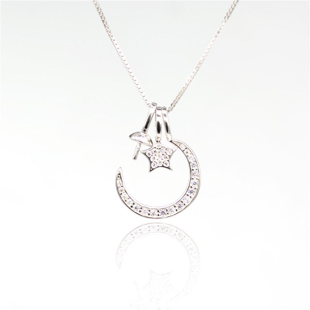 S925 стерлингового серебра кулон крепления Луна и звезда жемчужные подвески фитинг крепления для ювелирных изделий ожерелье DIY кулон аксессуар бесплатная доставка