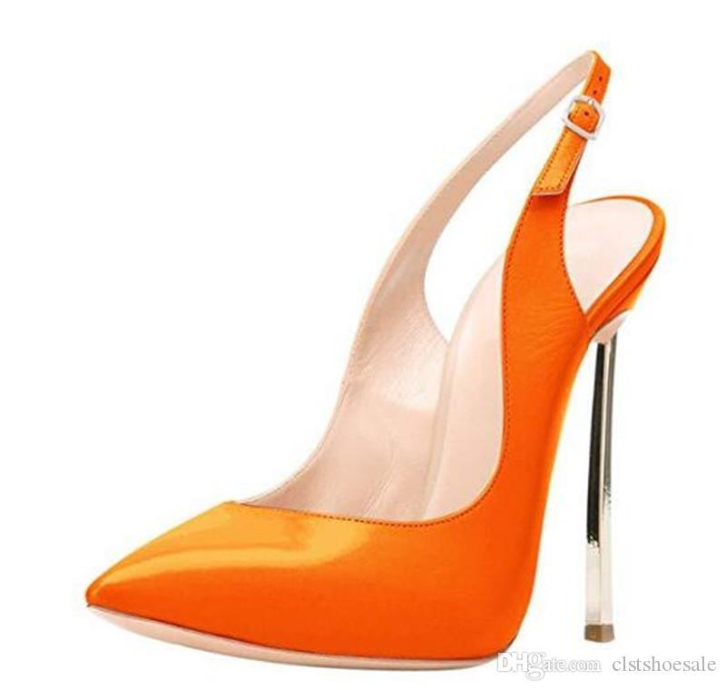 Scarpe Sposa Arancioni.Acquista Brand Design Donna Moda Scarpe A Punta Tacco A Spillo In