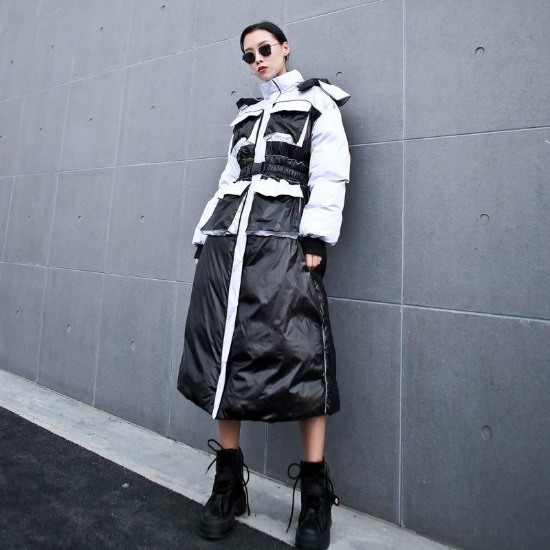 девушка Оснастки зимнее пальто женщины уличная с капюшоном куртка тонкий был тонкий мульти карман длинные топы тенденция Женская одежда 2019 DMY1510