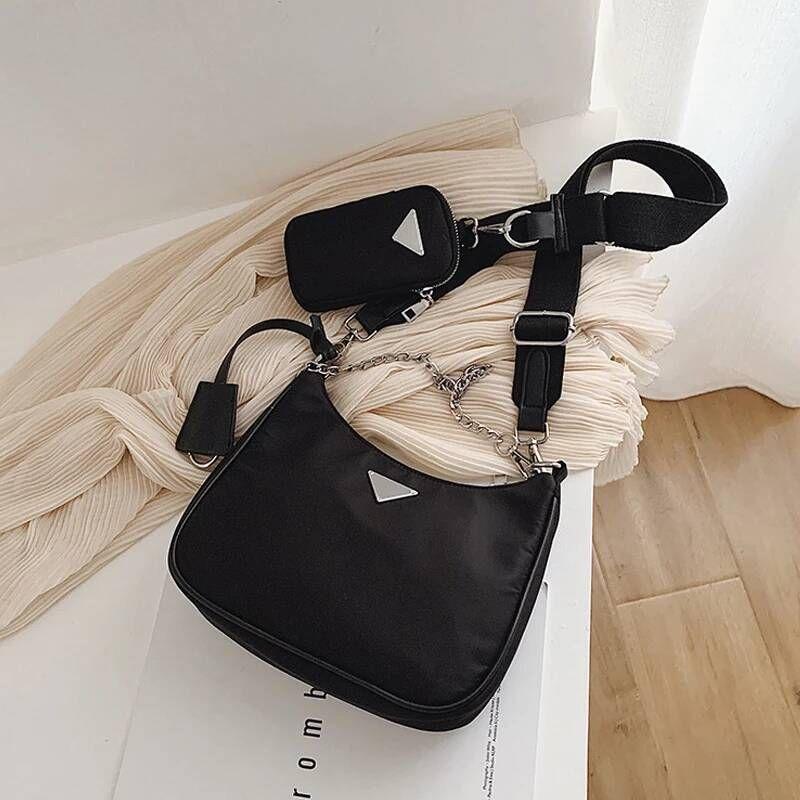 Mulheres Crossbody Saco Moda Casual Baguette Mini Shoulder Bag Nylon Bolsa fêmea para o ombro do Messenger