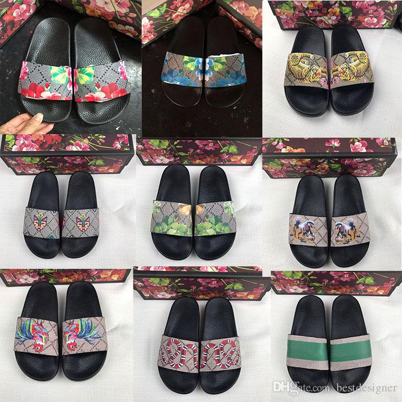 Slippers Men Women Sandals Designer Shoes Brand Slide Summer Fashion Wide Flat Slippery Sandals Slipper Flip Flop size 34-46 Flower box