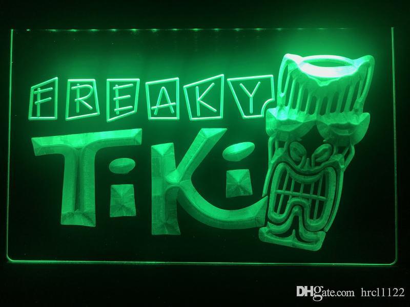 S092b- Freaky Tiki Bar Mask Pub Beer Led Light Sign