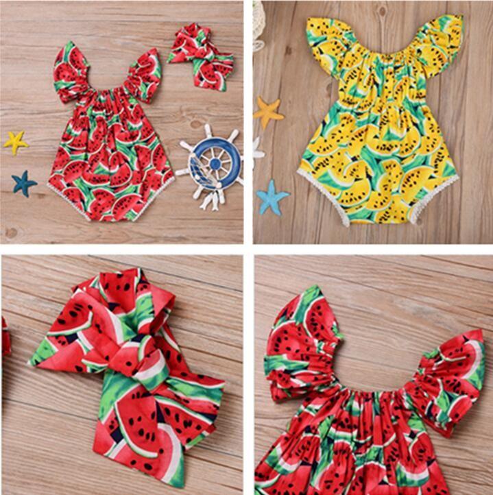 NOUVEAU -n-né bébé Baby Girls Body Body Bodot avec barre de coiffure Summer Fruit Fruit Print Jumpsuit Escalade Vêtements d'une pièce D62808