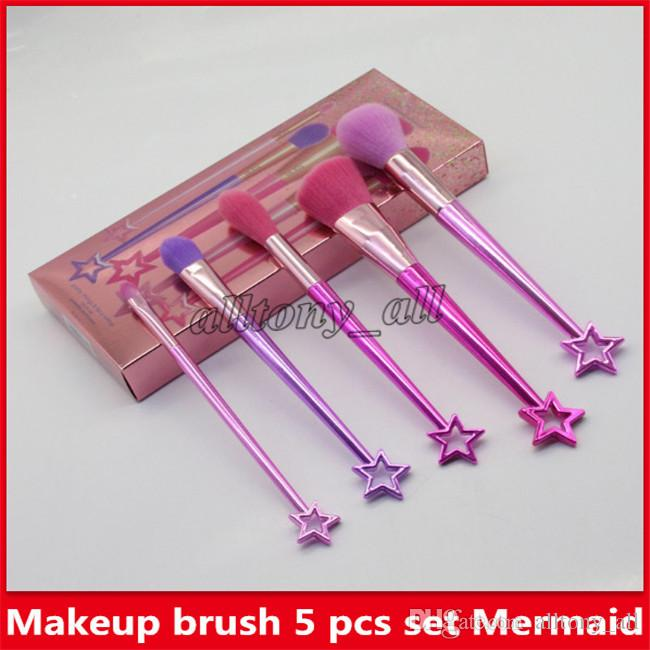 Marque maquillage pinceau 5 pcs set sirène pinceaux brosses titulaire pinceau fard à paupières maquillage pinceau outils poudre Contour pinceaux livraison gratuite