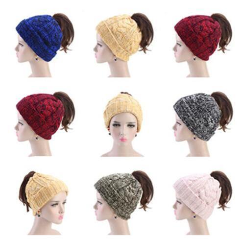 Frauen Strickpferdeschwanz Beanies Pure Color Kopf Top Pull Rope Caps Fashion verdickte Mode-Winter-warme Hut WY271Q-1