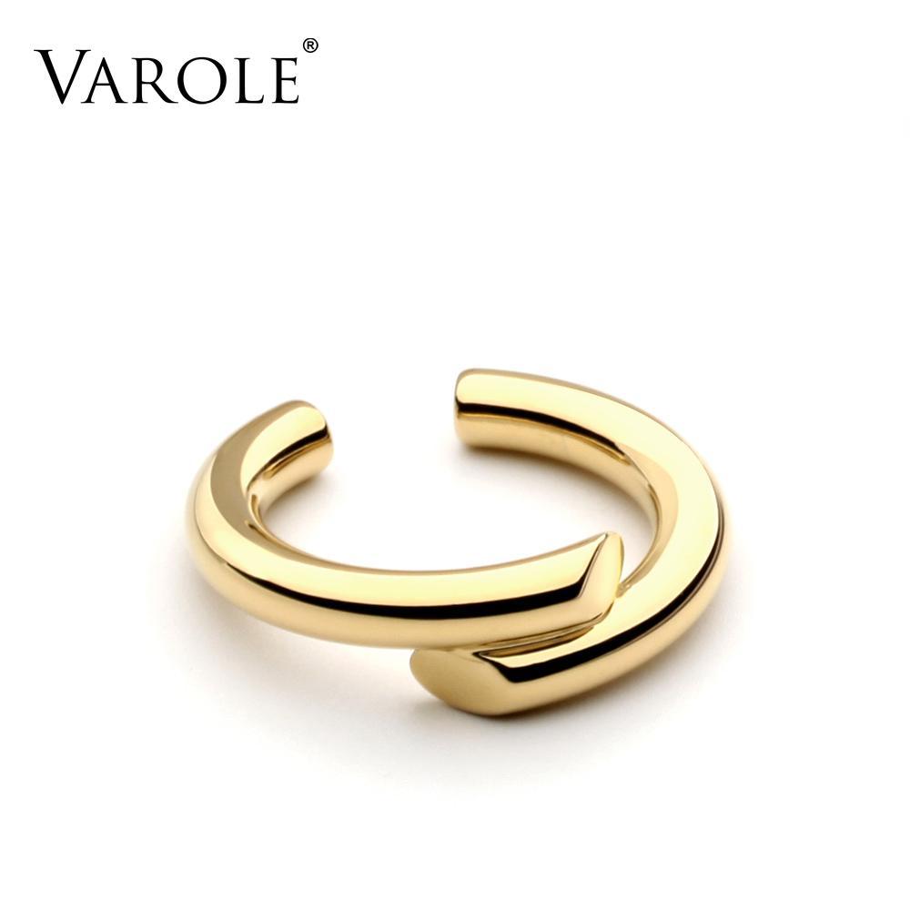 VAROLE Simple Sesign estilo anillos para mujeres 100% cobre oro Color anillo joyería Bague Femme anillos de boda Color plata regalo