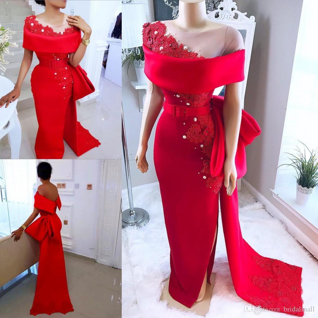 2019 Sheer Neck robes de soirée en satin rouge arabe saoudite avec nœud à la ceinture perlée de perles robes de soirée formelle de l'Afrique