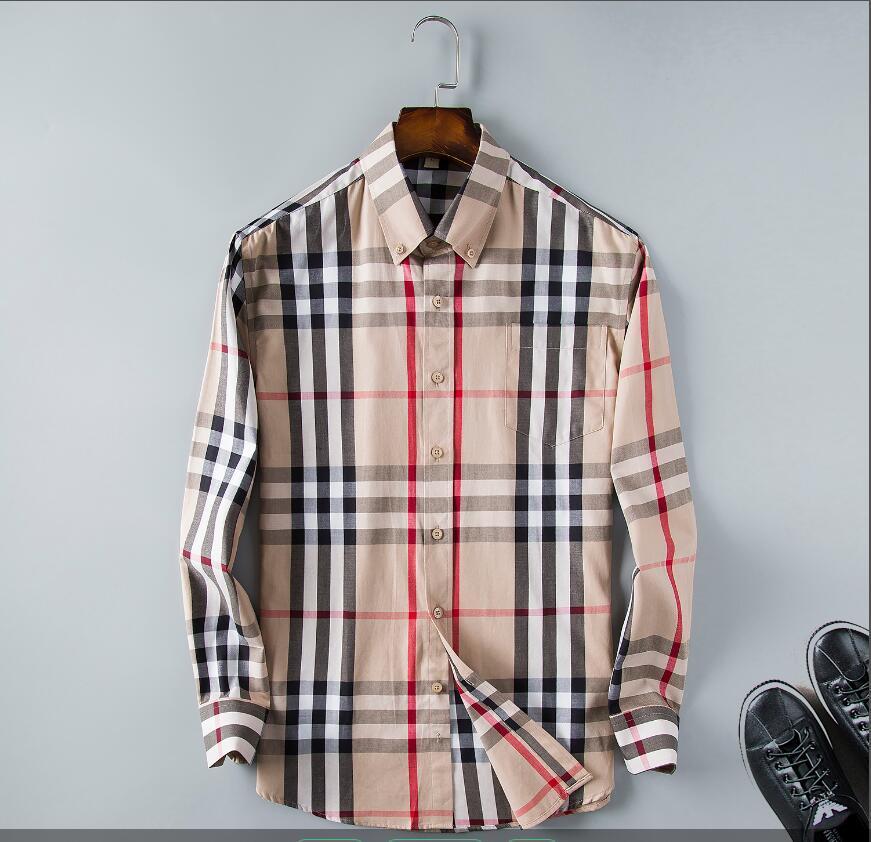 camisa casual business tarja de manga longa slim fit camisa nova moda xadrez 2020Men de homens saudáveis dos homens sociais% 1231
