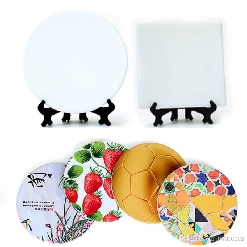 impression par transfert thermique en céramique bricolage coaster 2 modèles personnalité isolation de table créative coaster vide Livraison gratuite