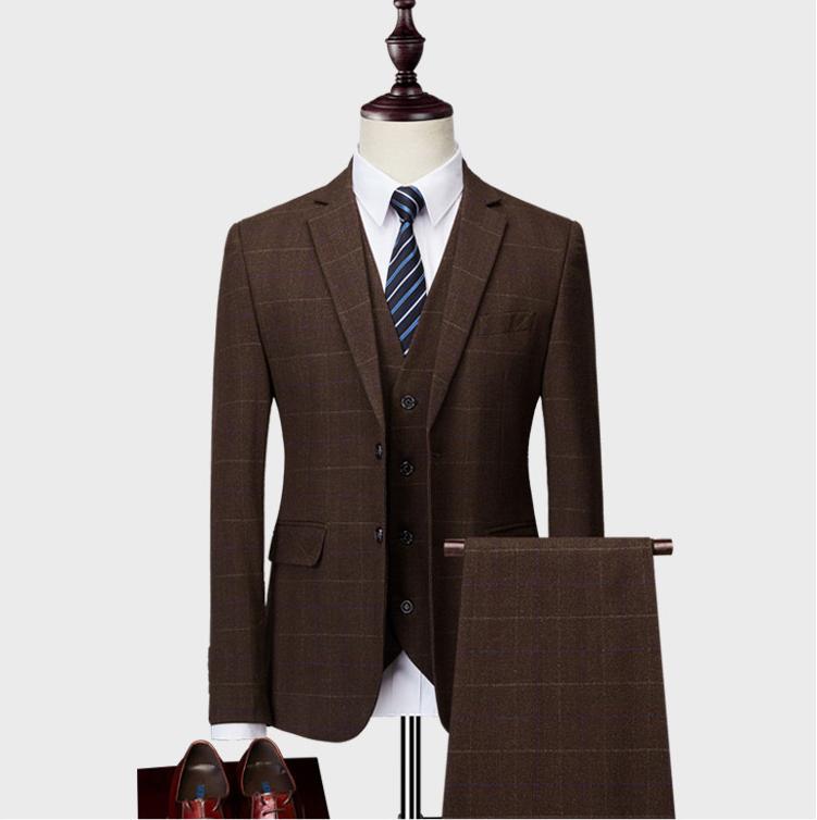 Куртки+ брюки+ жилет) 2019men'S Slim Fit 3 шт костюмы однобортный клетчатый блейзер размер зеленый хаки синее платье Weddingume homme