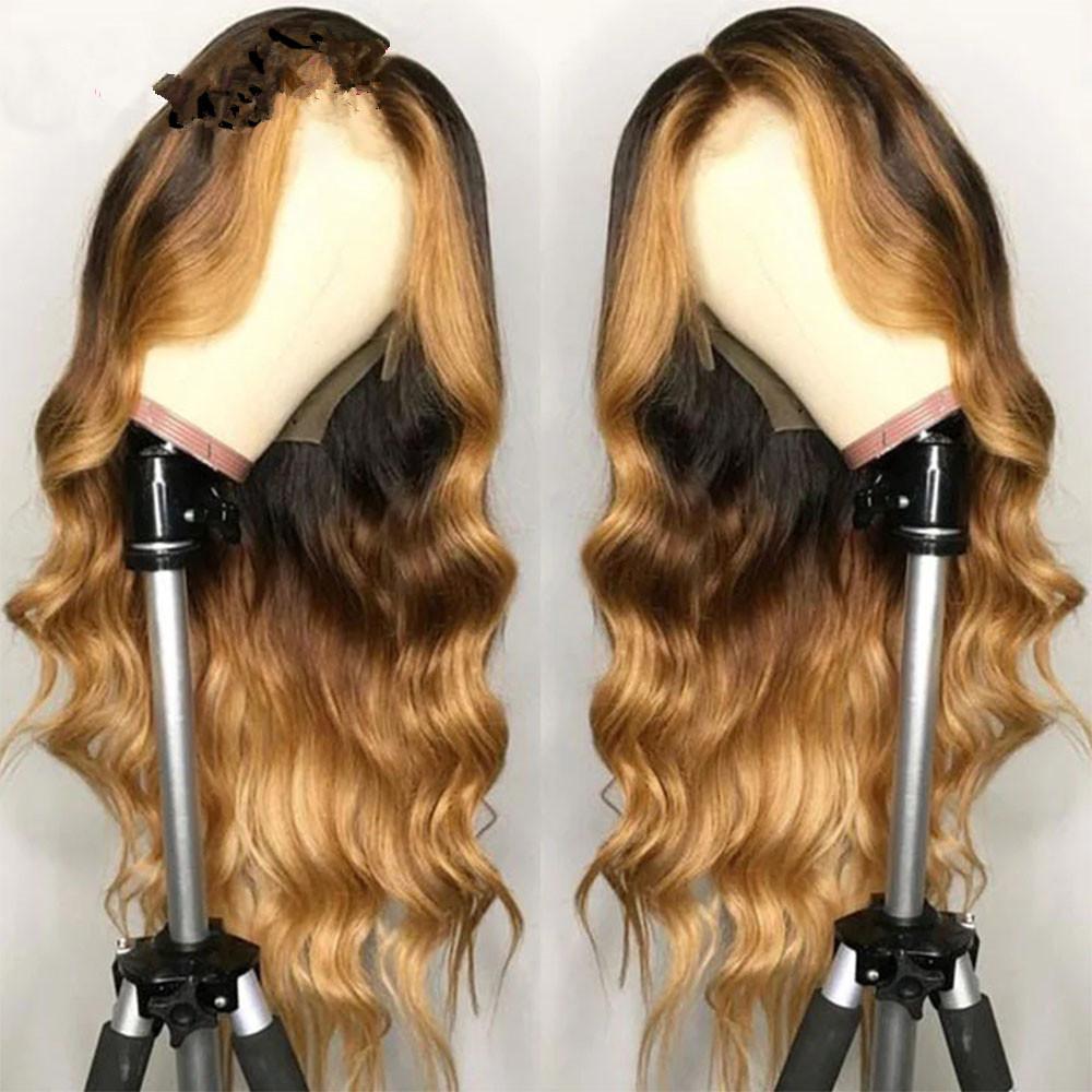 꿀 금발 전체 레이스 인간의 머리 가발 컬러 HD 정면 가발 Ombre 하이라이트 150 % 360 프론트 브라질 프리 클루