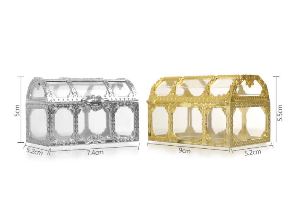 contenitore di regalo di favore di nozze a forma di scatola regalo creativo oro argento piccolo stile memorizzazione di monili caramelle di plastica cassa del tesoro