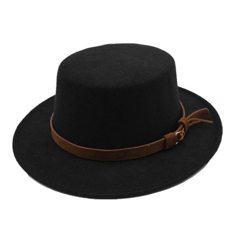 Seioum Lana negra de ala ancha Bowler Trilby Fedora Hat para las mujeres llano plana señora fieltro sombreros de la vendimia EE. UU. EE. UU. 5 colores D19011102