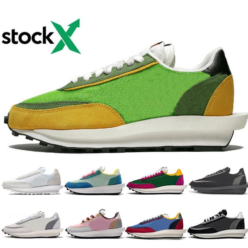 Лучшее качество Мужчины Женщина LDV вафельные кроссовки Green Gusto Черного Белый Нейлон соснового зеленый Черной Серые спортивные тапки обувь
