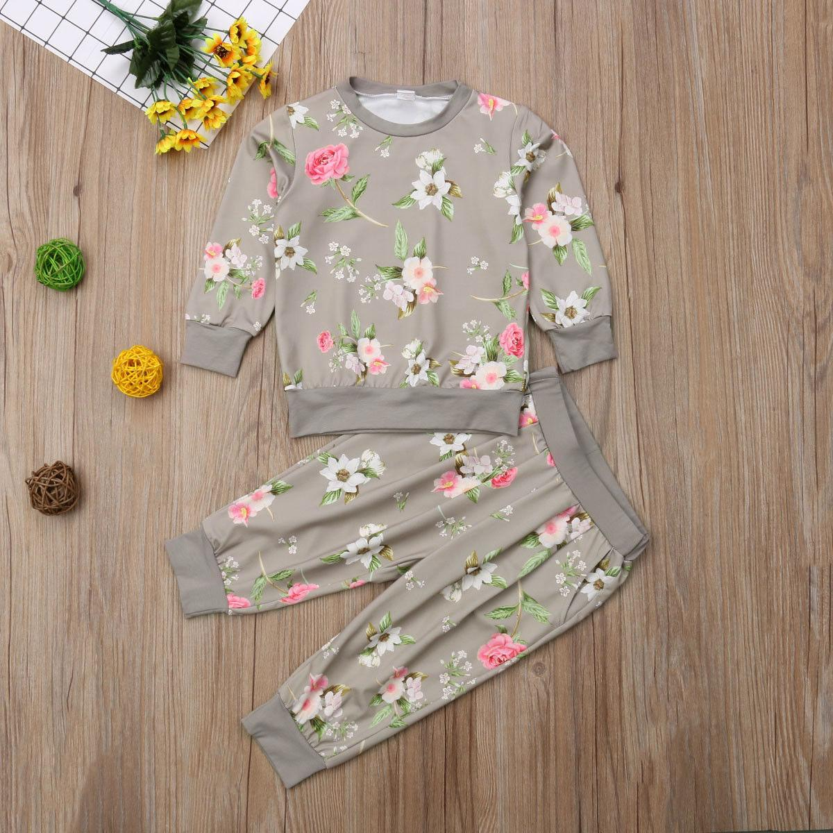 UK Flowers Kids Baby Girl Cotton Clothes T-shirt Top Pants Outfit Sets Tracksuit